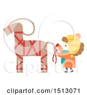Clipart Of A Girl Decorating A Straw Yule Goat Royalty Free Vector Illustration by BNP Design Studio