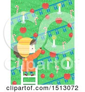Clipart Of A Girl Decorating A Scandinavian Christmas Tree With Candles Baubles And Candy Canes Royalty Free Vector Illustration by BNP Design Studio