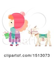 Clipart Of A Girl Holding A Gift And Walking A Yule Goat Royalty Free Vector Illustration by BNP Design Studio