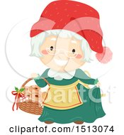 Clipart Of Mrs Claus Holding A Basket Of Saffron Buns Royalty Free Vector Illustration by BNP Design Studio