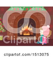 Clipart Of A Happy Girl Sitting In Front Of A Christmas Fireplace With A Log Log Royalty Free Vector Illustration by BNP Design Studio