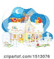 Clipart Of A Snowy Christmas Eve Night With Santa In A Home And Reindeer And A Sleigh On The Roof Royalty Free Vector Illustration