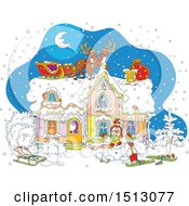 Clipart Of A Snowy Christmas Eve Night With Santa Claus In A Home And Reindeer And A Sleigh On The Roof Royalty Free Vector Illustration
