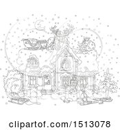 Clipart Of A Black And White Snowy Christmas Eve Night With Santa In A Home And Reindeer And A Sleigh On The Roof Royalty Free Vector Illustration