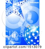 Clipart Of A Merry Christmas Greeting With A 3d Bauble And Stars Royalty Free Vector Illustration