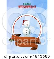 Merry Christmas Greeting With A Waving Snowman And Banners Over Geometric