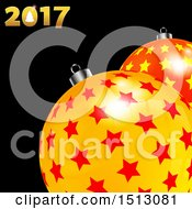 Clipart Of A Christmas 2017 Design With Starry Baubles On Black Royalty Free Vector Illustration