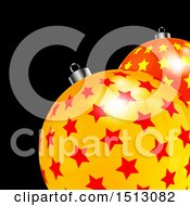 Clipart Of A 3d Starry Christmas Ornament Baubles On Black Royalty Free Vector Illustration