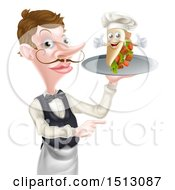 Clipart Of A Cartoon Caucasian Male Waiter Pointing And Holding A Kebab Sandwich On A Tray Royalty Free Vector Illustration