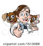 Cartoon Friendly Male Veterinarian Giving A Thumb Up Over A Sign With A Cat And Dog Behind Him