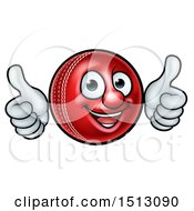 Clipart Of A Cricket Ball Mascot Character Giving Two Thumbs Up Royalty Free Vector Illustration by AtStockIllustration