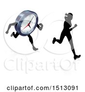 Clipart Of A Silhouetted Woman Racing A Clock Character Royalty Free Vector Illustration by AtStockIllustration
