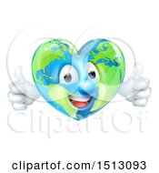 Clipart Of A Happy Heart Shaped Earth Globe Character Giving Two Thumbs Up Royalty Free Vector Illustration by AtStockIllustration