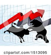 Clipart Of A Silhouetted Bear Vs Bull Stock Market Design With Arrows Over A Graph Royalty Free Vector Illustration by AtStockIllustration