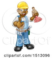 Poster, Art Print Of Full Length Happy Black Male Plumber Holding A Plunger And Giving A Thumb Up