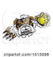 Clipart Of A Tough Bulldog Monster Shredding Through A Wall With A Tennis Ball In One Hand Royalty Free Vector Illustration