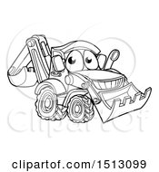 Clipart Of A Lineart Bulldozer Digger Mascot Character Royalty Free Vector Illustration by AtStockIllustration