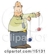 Focused Businessman In A Green Shirt Blue Tie And Blue Pants Trying To Use Two Yo Yos At The Same Time Clipart Graphic