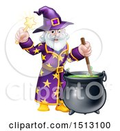 Clipart Of A Happy Old Bearded Wizard Mixing A Potion And Holding A Wand Royalty Free Vector Illustration