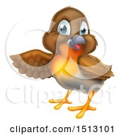 Clipart Of A Robin Bird Presenting To The Left Royalty Free Vector Illustration by AtStockIllustration