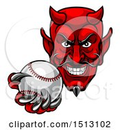Clipart Of A Grinning Evil Red Devil Holding Out A Baseball In A Clawed Hand Royalty Free Vector Illustration by AtStockIllustration