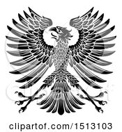 Clipart Of A Black And White Imperial Coat Of Arms Eagle Royalty Free Vector Illustration
