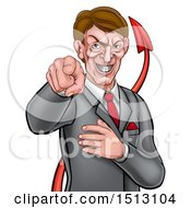 Cartoon Corrupt White Devil Business Man Pointing Outwards From The Waist Up