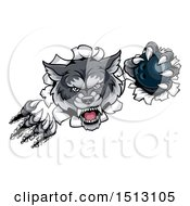 Clipart Of A Ferocious Gray Wolf Slashing Through A Wall With A Bowling Ball Royalty Free Vector Illustration by AtStockIllustration