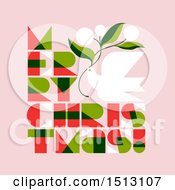 Clipart Of A Dove And Merry Christmas Text On Pink Royalty Free Vector Illustration by elena