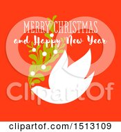 Merry Christmas And Happy New Year Greeting With A Dove And Branch On Red