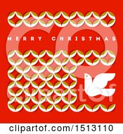 Merry Christmas Greeting With Leaves And A Dove On Red