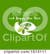 Merry Christmas Greeting With A Dove And Branch On Green