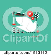 Clipart Of A Christmas Dove With Peace Joy Love Text On Green Royalty Free Vector Illustration by elena