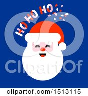Jolly Santa Face With Ho Ho Ho Text On Blue