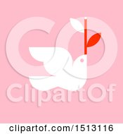 Christmas Dove With A Branch On Pink