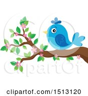 Clipart Of A Blue Bird Perched On A Spring Blossom Branch Royalty Free Vector Illustration