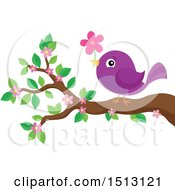 Clipart Of A Purple Bird Perched On A Spring Blossom Branch With A Flower Royalty Free Vector Illustration