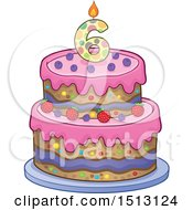 Clipart Of A Layered Sixth Birthday Party Cake Royalty Free Vector Illustration