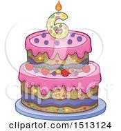Layered Sixth Birthday Party Cake