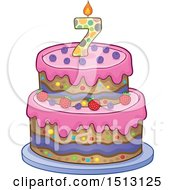 Clipart Of A Layered Seventh Birthday Party Cake Royalty Free Vector Illustration