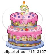 Clipart Of A Layered Ninth Birthday Party Cake Royalty Free Vector Illustration