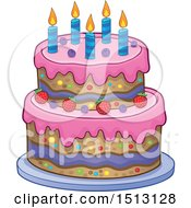 Clipart Of A Layered Birthday Party Cake Royalty Free Vector Illustration by visekart
