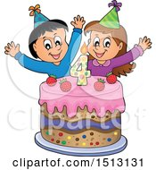 Boy And Girl Celebrating At A Fourth Birthday Party With A Cake