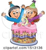 Boy And Girl Celebrating At A Ninth Birthday Party With A Cake