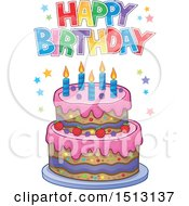 Clipart Of A Happy Birthday Greeting Over A Layered Cake Royalty Free Vector Illustration