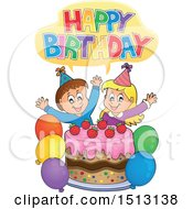 Clipart Of A Happy Birthday Greeting Over A Boy And Girl Celebrating At A Birthday Party With Balloons And A Cake Royalty Free Vector Illustration