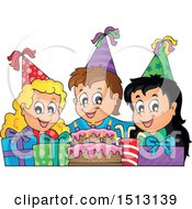 Clipart Of A Group Of Children Celebrating At A Birthday Party With Gifts Royalty Free Vector Illustration by visekart