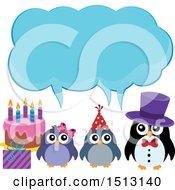 Penguin Family With A Birthday Gift And Cake Under An Ice Speech Balloon