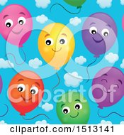 Seamless Pattern Of Happy Party Balloons Over Sky