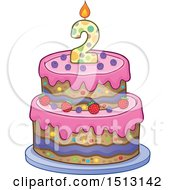 Clipart Of A Layered Second Birthday Party Cake Royalty Free Vector Illustration